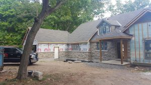 Brick Siding in Progress